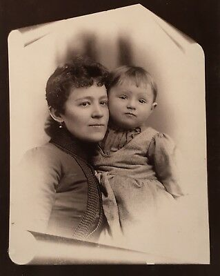 Antique Pretty Mother Young Daughter Fancy CABINET CARD PHOTO Muskegon Michigan