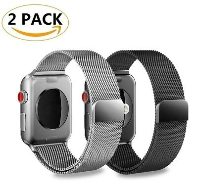 2 PACK 42mm Stainless Wrist Band Strap For Apple Watch Series 3 2 1 iWatch