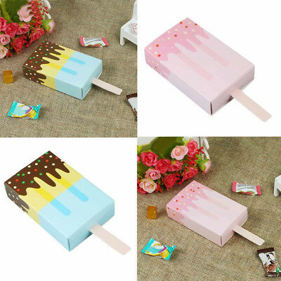 KQ_ 10Pcs Ice Cream Shape Candy Box Party Drawer Kids Birthday Gift Bag case Dec