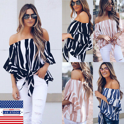 2018 US Women Summer Striped Off Shoulder Loose Crop Tops Casual Blouse T Shirts