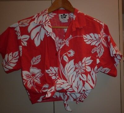 Vintage Hilo Hattie Hawaii Cropped Womens Shirt M Excellent Condition