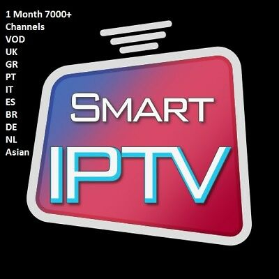1 Month IPTV Premium GIft 6500+ Channels Smart IPTV MAG m3u Android IOS UK DEAL