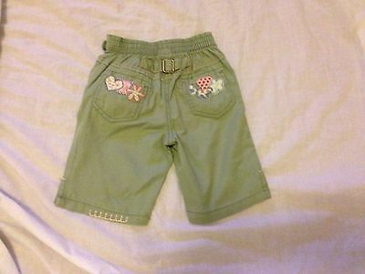 Next Girls Green Mix Cropped Cotton Trousers For Age 12 - 18 Months VGC