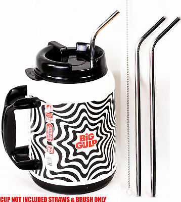 """2 Big Gulp 11.5"""" JUMBO Stainless Steel Straw for 64oz LONG Drinking Wide"""