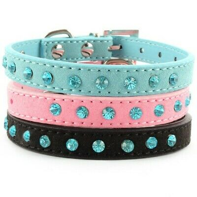 US Dog Cat Puppy Rhinestone Crystal Collar Leather Buckle With Bell Pet Collar