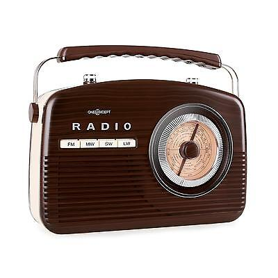 RADIO PORTABLE LOOK RETRO ANNEES 50 OneConcept NR-12 TUNER AM FM MARRON & BEIGE