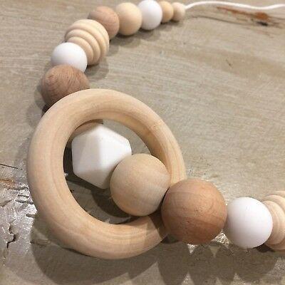 Natural Wood & BPA Free Silicone Nursing Teething Necklace With 5.5cm Ring