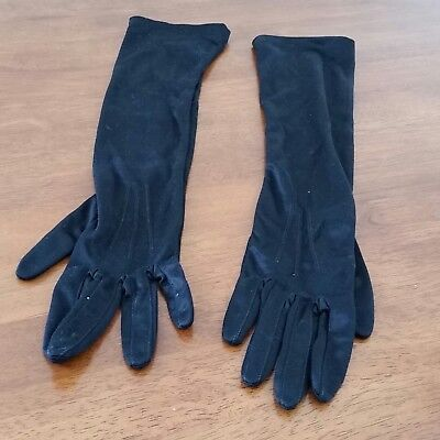 Vintage 60s COLLINS NSW Nylon Satin BLACK Elbow Length Occasion GLOVES size 7