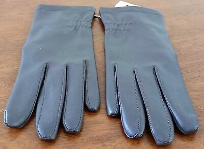 Vintage 80s KAYSER Vinyl Polyester Lined BROWN Short Driving Day GLOVES size M