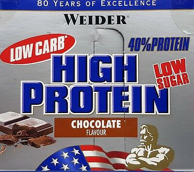 (17,50€/kg) 20x Weider 40% High Protein Low Carb Riegel Chocolate MHD 02/2018 !!
