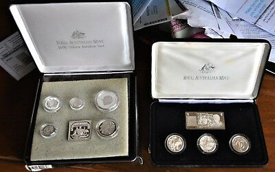 MASTERPIECES IN SILVER* 1990/1991 SETS/LOTS 2 boxed lots* silver coins!