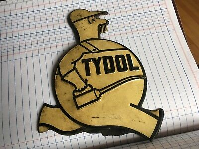 Tyrol Gas Oil Tool Can Man License Plate Topper Tin Metal Embossed