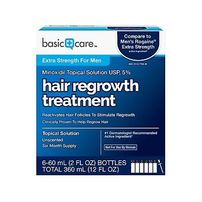 Basic Care Minoxidil Topical Solution USP, 5% Hair Regrowth Treatment for... New