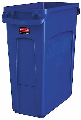 Rubbermaid  Vented Slim Jim Trash Can Waste Receptacle, 16 Gallon, Blue, Plastic