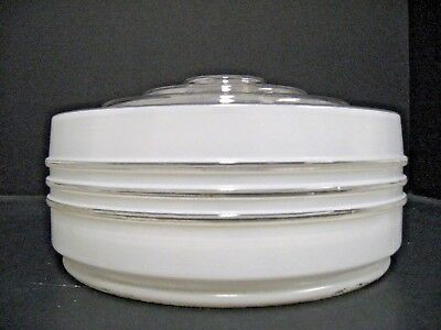 Vintage Mid Century Clear White Frosted Globe for Ceiling Light Fixture 8.25X4.5