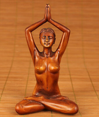 Rare Chinese Old Boxwood hand carving sexy girl Yoga Statue Art Noble Gift