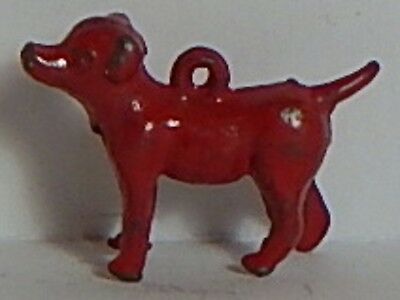 Vint 1920 Red Metal Beagle Sm Dog Terrier Chihuahua Cracker Jack Charm