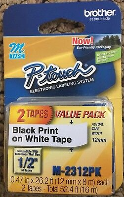 """Brother P-touch M-231 Label Maker Tape 1/2"""" - 2 pack New"""