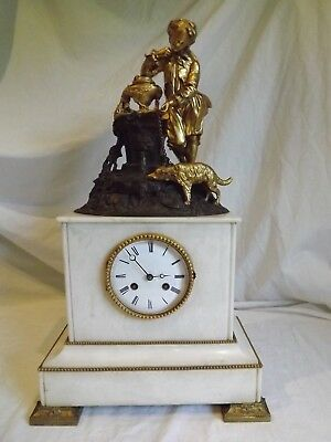 Superb 19c French Bronze/Marble Clock C1880.