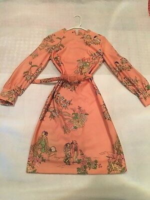 Vintage Leslie Fay 1960's Peach Mini Dress Asian Chinoiserie Print Birds Geisha