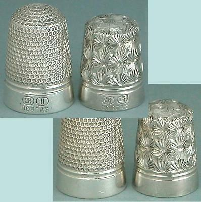 2 Antique Sterling Silver Clad Dorcas Children's Thimbles * by Charles Horner