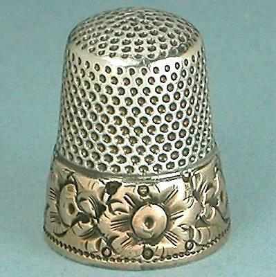 Antique Sterling Silver Thimble w/ Gold Band *  American * Circa 1880s