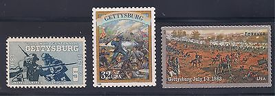 Civil War - Battle Of Gettysburg - Complete Set Of 3 U.s. Postage Stamps