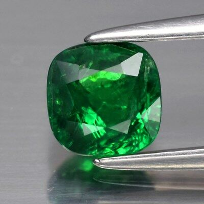 0.84ct 5.4mm Cushion Natural Medium Green Tsavorite Garnet, Tanzania