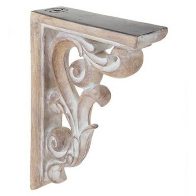 Rustic Set of 2 Corbel Wall Brackets Distressed White Ornate Wood Corbels