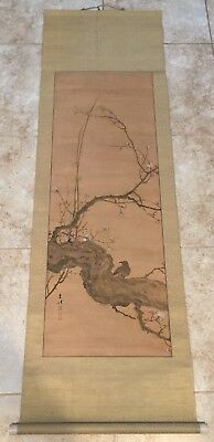 Fine Japanese / Chinese Watercolor Painting Scroll On Silk With Signed.