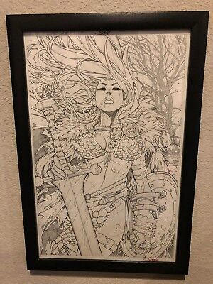 Red Sonja Volume 4 Issue 4 Cover Original Comic Art by Jonboy Meyers