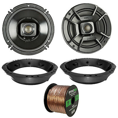 "2x Polk 6.5"" 2-Way Black Marine Speakers, Adapter, 50 Ft Wire ('98-2013 Harley)"
