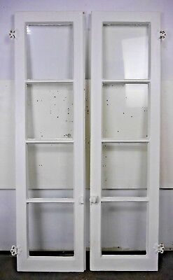 Antique Vintage Pair Cabinet Kitchen Cupboard Doors 1920's w/Glass & Hardware #3