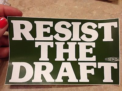 Resist The Draft Military Army Vintage Green White Bumper Sticker Decal