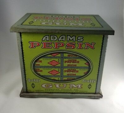 Antique Adams Pepsin Chewing Gum Tin container box American Chicle Company