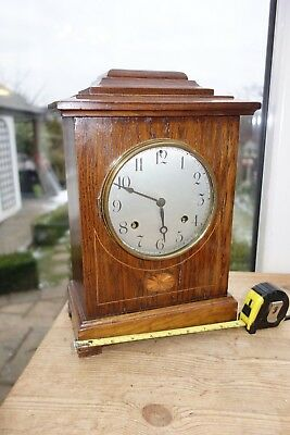 German Tall 8 Day Inlaid Oak Cased Silvered Dial Chiming Mantle Clock