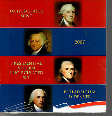 Mint Sealed 2007 United States Mint Presidential $1 Coin Uncirculated Set P&D