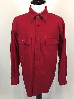Vintage LL Bean Flannel Chamois Cloth Work Shirt Men's Large Red Made In USA 70s