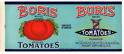 1910s MOUNT AIRY CANNING CO, MOUNT AIRY, MARYLAND BORIS TOMATOES COLOR CAN LABEL
