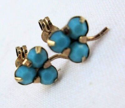 Pair good vintage 9ct gold & turquoise paste earrings