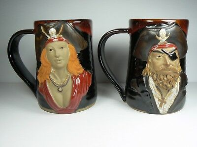 His & Hers 3D Pirate Mugs High Detail Rich Color Always Azul Pottery NEW