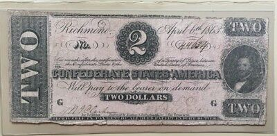 1863 Confederate $2 two dollar note Judah Benjamin