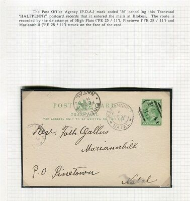 SOUTH AFRICA TRANSVAAL; 1911 early used POSTCARD to Natal