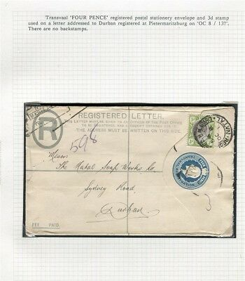 SOUTH AFRICA TRANSVAAL; 1913 fine Registered LETTER/COVER to Durban