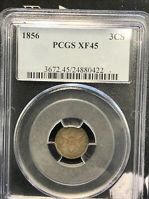 1856 three cent silver , PCGS XF45 scarce date