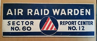 "Civil Defense ""Air Raid Warden"" Sector #60 Report Center #12 Sign,1940's-50's"