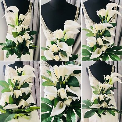 Wedding Bridal Floral Bouquet Table Decor Ivory Calla Lillies & Roses Home Decor