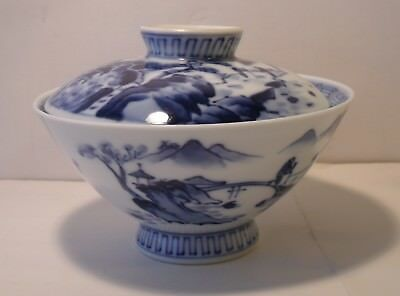 Superb Japanese Blue And White Hand Painted Covered Rice Bowl