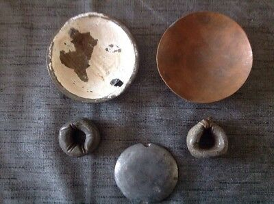 Antique Pendulum Bob Parts And Pair Lead Clock Weights 175 198g Spare Parts