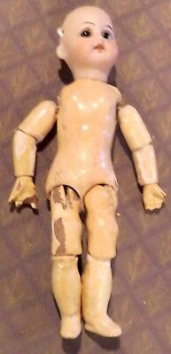 "Antique 7"" German Bisque Perfect AM 1894 Tiny Fully Jointed Doll one French Body"
